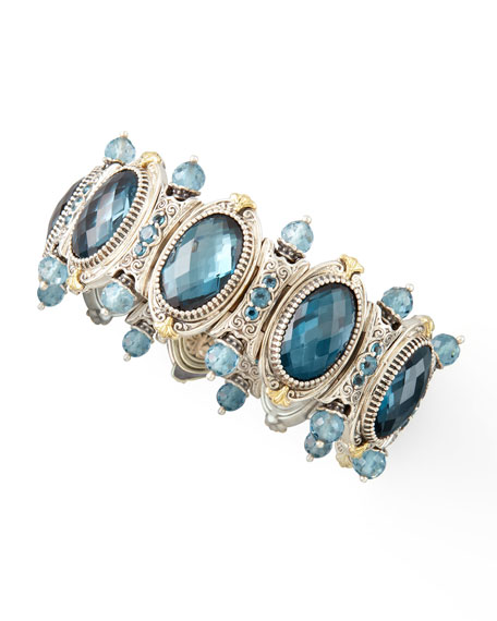Thalassa London Blue Topaz Beaded Station Bracelet