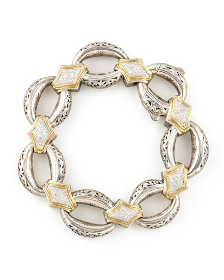 Classic Diamond Pave Connector Link Bracelet