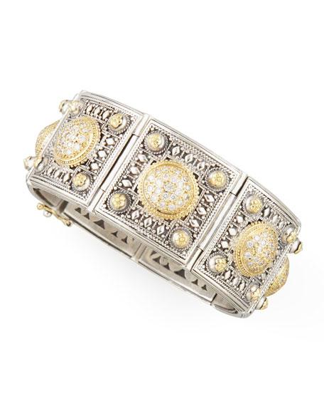 Classic Diamond Pave Dome Square Panel Bracelet