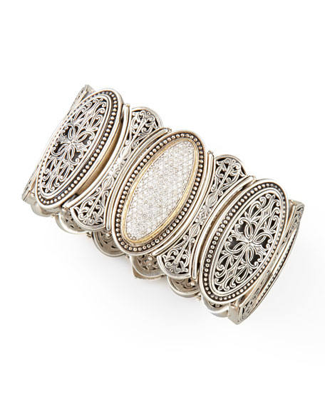 Classic Diamond Pave Large Filigree Cuff