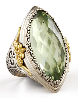Konstantino Astritis Large Faceted Green Amethyst Ring