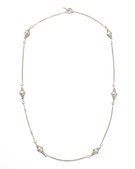 Classic Sterling Silver Station Necklace, 36""