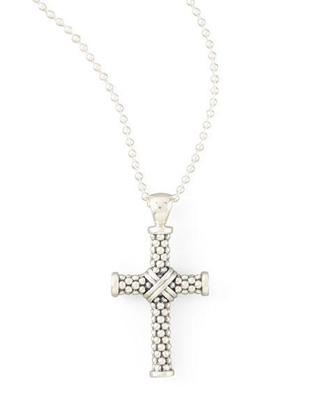 Signature Caviar Beaded Cross Pendant Necklace