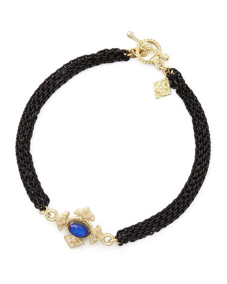 Midnight Lapis Maltese Cross Bracelet