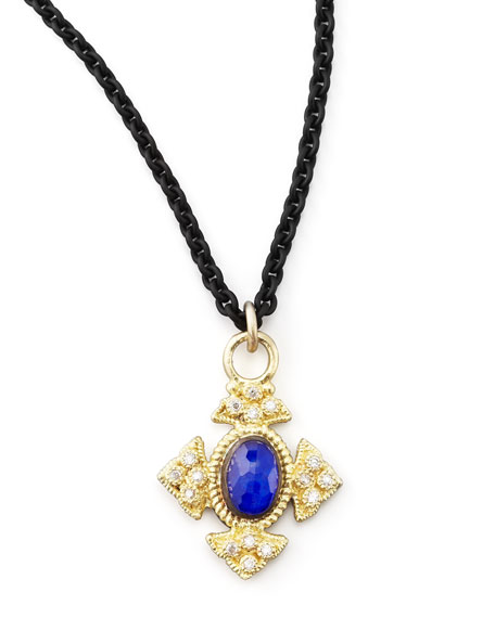 Midnight Lapis Cravelli Cross Pendant Necklace
