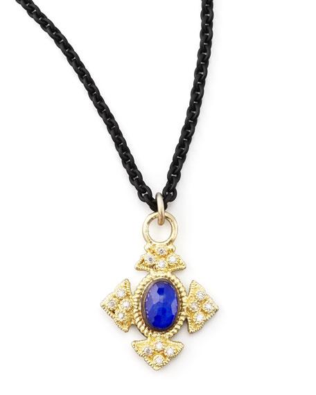 Midnight Lapis Cravelli Cross Pendant Necklace