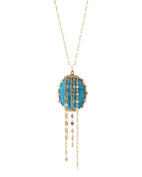 Turquoise Chain-Cascade Pendant Necklace