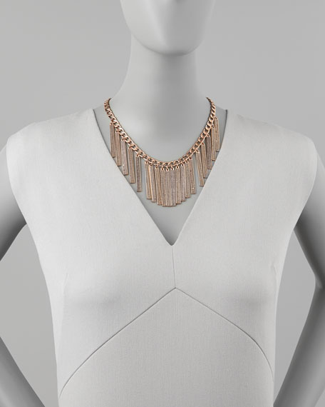 Rose Golden Pave Crystal Runway ID Necklace