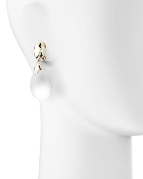 Medium Lucite Clip-On Drop Earrings, Silver