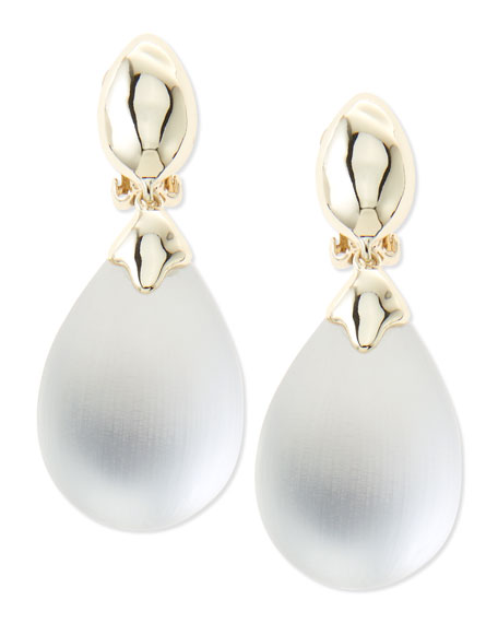 Medium Lucite Clip-On Drop Earrings, Silver