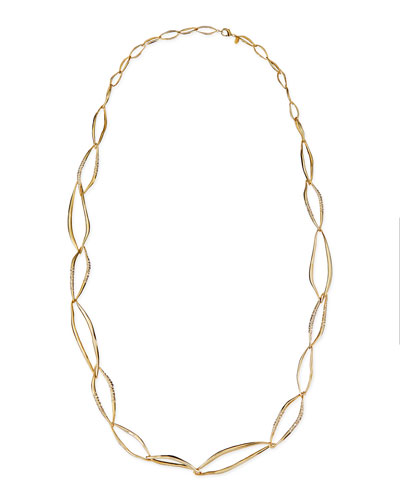 """Alexis Bittar Pave Crystal Organic Link Necklace, 42"""""""
