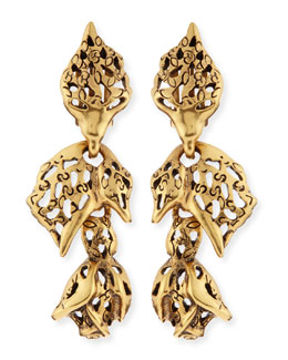 Oscar de la Renta Golden Carved Rose Earrings