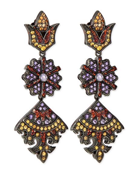 Long Flower/Kite Earrings with Enamel, Orange Sapphire and Amethyst