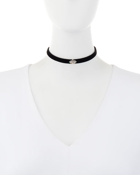 Velvet Choker Necklace with Diamond Evil Eye Station
