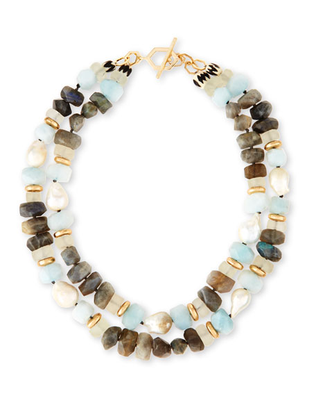 Akola Two-Strand Pearl Nugget, Labradorite & Quartz Necklace