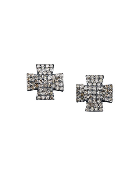 Pavé Diamond Maltese Cross Earrings