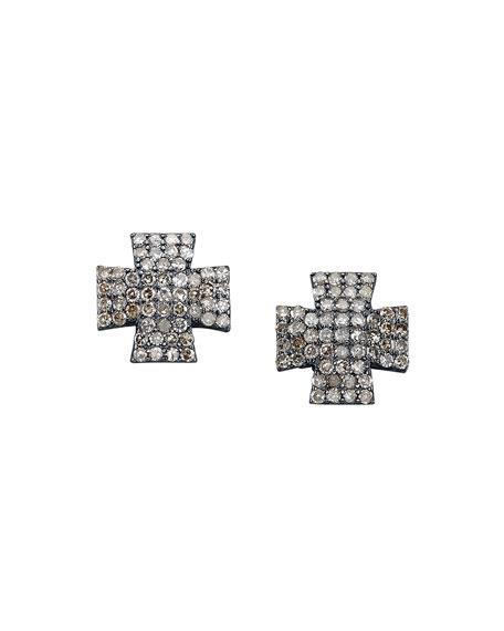 Pavé Diamond Maltese Cross Earrings