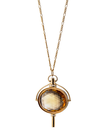 Monica Rich Kosann Pocket Watch Key Honey Quartz Oval Necklace