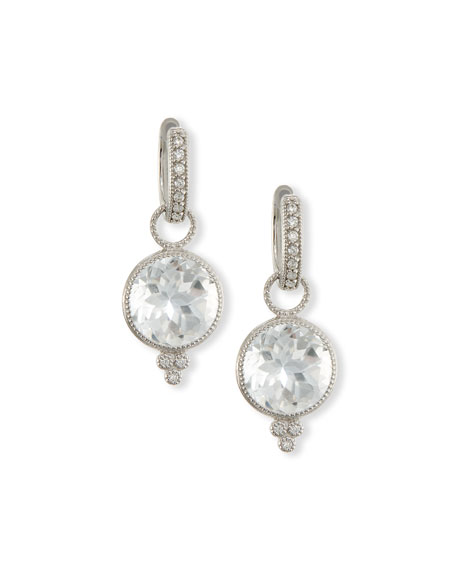 Provence Round White Topaz Earring Charms with Diamonds