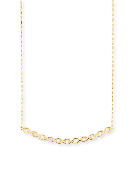 Diamond Evil Eye Bar Pendant Necklace