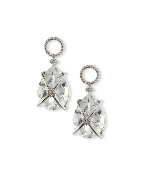 Image 3 of 3: Jude Frances Tiny Crisscross Wrapped White Topaz Earring Charms with Diamonds
