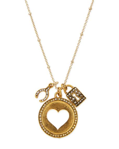 Sequin Heart Talisman Pendant Necklace, 32