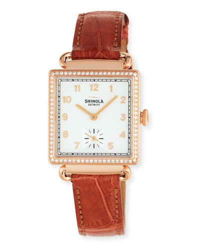 The Cass 28mm Alligator Strap Watch with Diamonds, Terra Cotta