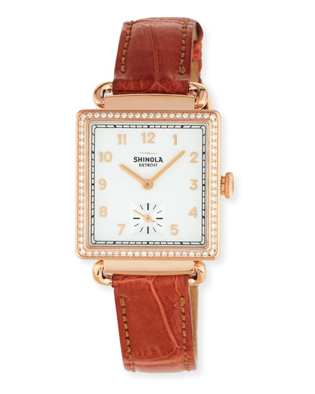 The Cass 28mm Alligator Strap Watch with Diamonds, Terra Cotta