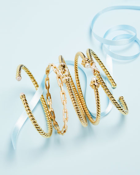 Stax Chain Link Bracelet in 18k Yellow Gold w/ Diamonds, Size M