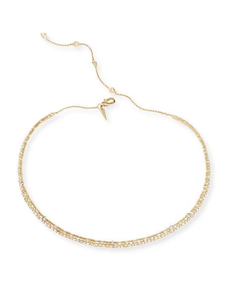 Alexis Bittar Crystal Spike Choker Necklace, Golden