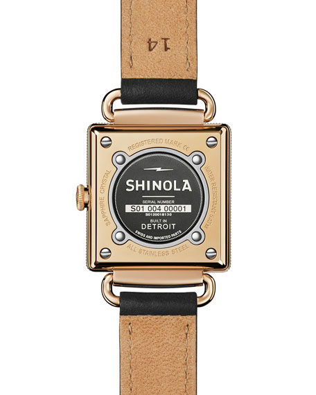 The Cass Leather Strap Watch, Black