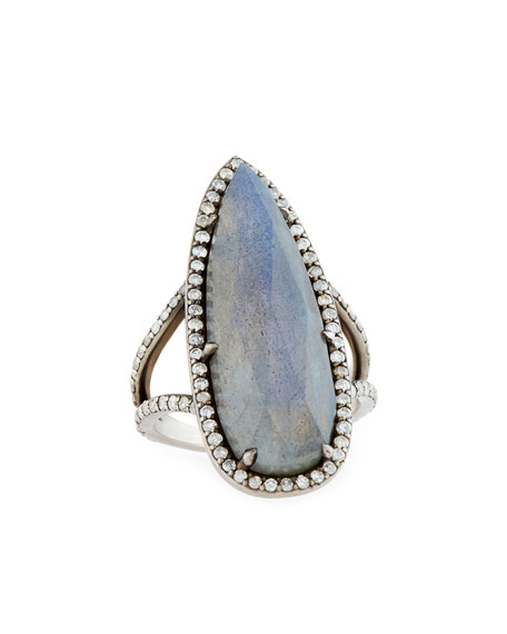Teardrop Labradorite Ring with Diamonds, Size 8.5