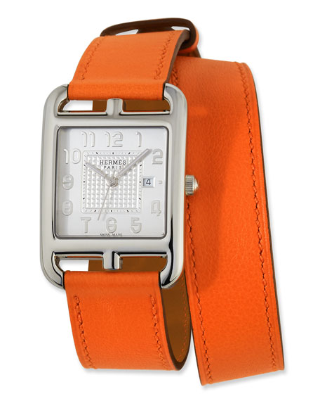 Large Cape Cod GM Watch with Orange Leather Strap