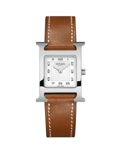 Heure H PM Watch with Barenia Leather Strap