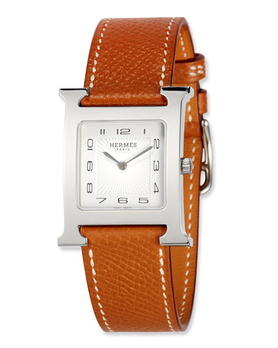 Heure H MM Watch with Epsom Leather Strap