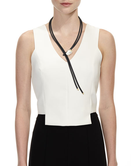 Leather Bolo Necklace with Baroque Pearl Slider, Black