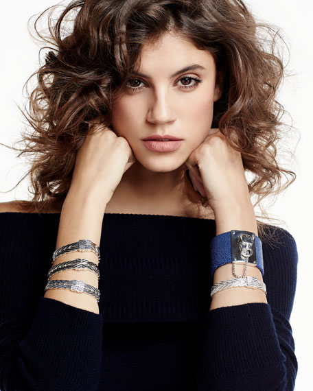 Modern Chain Medium Bracelet with Blue Sapphires