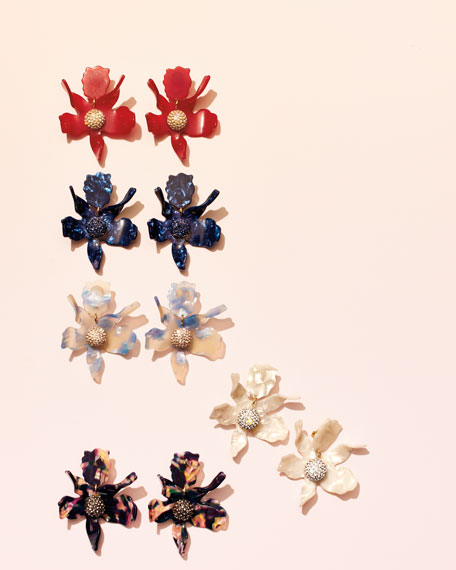 Sculptural Crystal Lily Earrings