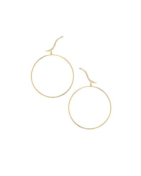 LANA Electric Hoop Stud Duo Earrings with Diamonds