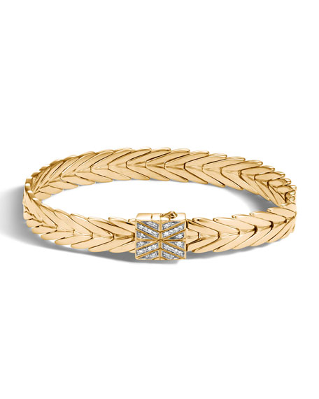 11mm Modern Chain 18K Gold Bracelet with Diamonds, Size M
