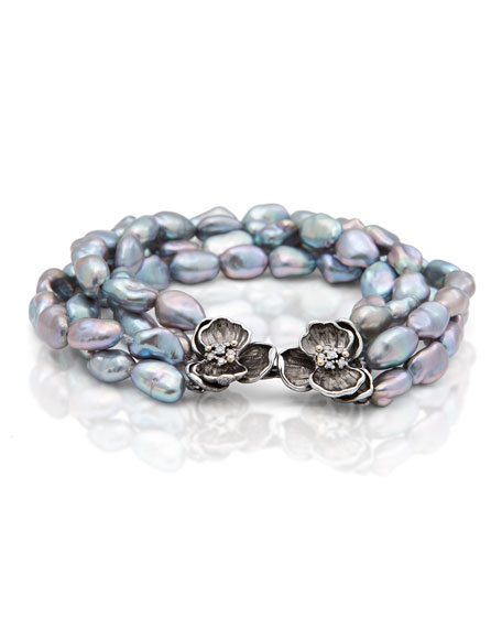Orchid Four-Strand Pearl Nugget Bracelet with Diamonds