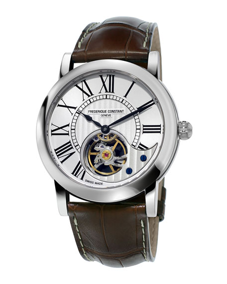 Frederique Constant 41mm Heart Beat Manufacture Watch w/Alligator