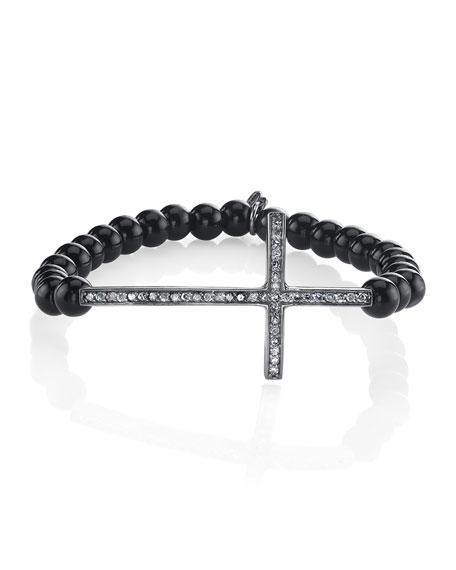 Sheryl Lowe 6mm Black Onyx & Diamond Cross Bracelet