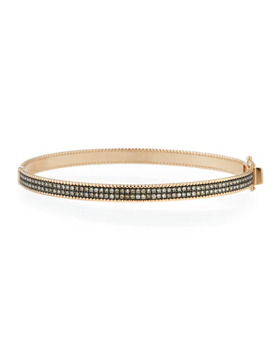 Champagne Diamond Double-Row Bangle in 14K Rose Gold
