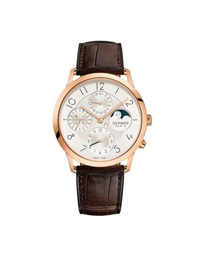 39.5mm Slim d'Hermes Watch with Alligator Strap, Brown