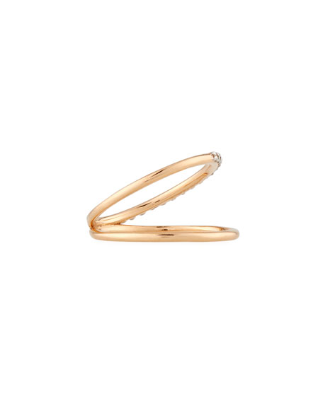 Spectrum Two-Row Ring with Diamonds in 14K Rose Gold