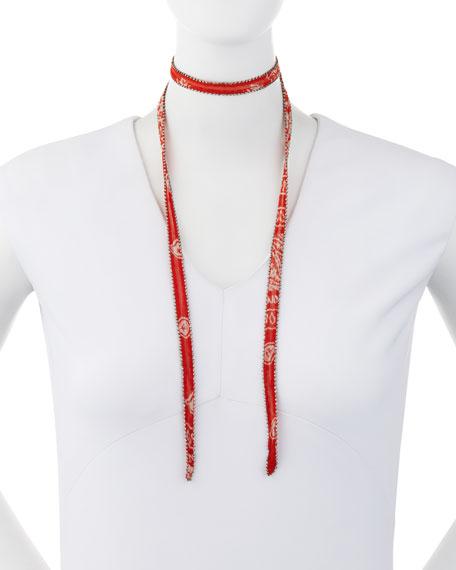 Bandana-Print Chiffon Necktie Choker