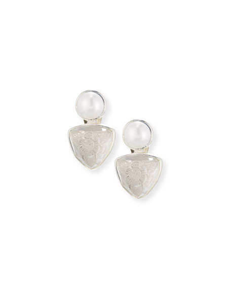Pearl Button & Carved Drop Earrings, White