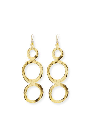 Devon Leigh Hammered Multi-Circle Drop Earrings
