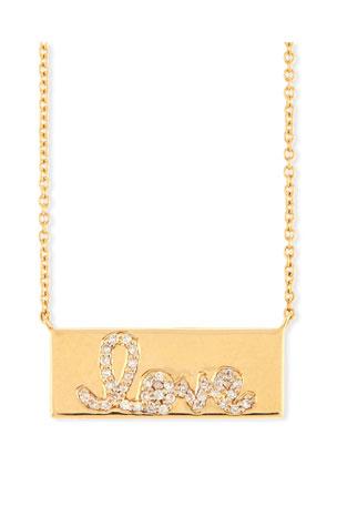 Sydney Evan Pave Diamond Love Bar Necklace